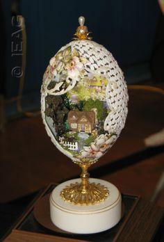 carved egg diorama