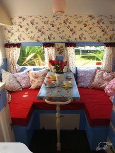 Cute table setting in cute camper
