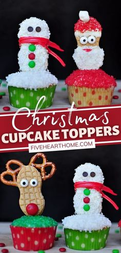Time for some easy, delicious holiday desserts! Kids will love to help you create these Christmas Cupcake Toppers using Nutter Butter cookies. Have fun in customizing this recipe with your own creativity and the type of candy decorations you have on hand. Save this pin! Cute Christmas Desserts, Christmas Cupcake Toppers, Christmas Breakfast, Christmas Cupcakes, Holiday Desserts, Christmas Baking, Christmas Recipes, Christmas Themes, Holiday Fun
