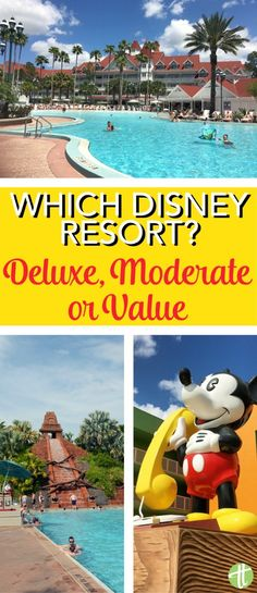 hotel tips Value vs. Deluxe - Which Walt Disney World resort is best for your family vacation Analyzing Disney hotel rooms, restaurants, pools, and amenities of each tier in Orlando, Florida. Best Disney Hotels, Best Disney Resort, Disney Value Resorts, Hotels Near Disney, Disney Resort Hotels, Walt Disney World Vacations, Disney Cruise Line, Disney Trips, Family Vacations