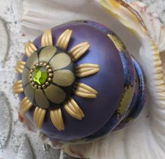 Susan Goldstick Decorative Finials Iris Finial - Periwinkle/Jade/Black