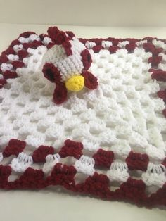 """#AmigurumiToy, #StrollerBlanket, #FarmhouseDecor, #WhiteRooster #Lovey, #BabyShower #Gift, #Animal #Blanket, #Amigurumi #Doll, #Roosters, #NurseryRoomDecor, #Baby Lovey, #Rooster Decor, #BabyBlankets, #SecurityBlanket    This White and Red Rooster Lovey, ( also lovingly referred to as a security blanket, baby blanky, & lovies ), makes a great """"baby's first doll"""", heirloom, baby shower gift, diaper cake topper, photo prop, birthday gift, or nursery room decor. It is also is the perfect…"""