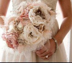 Fabric Flower flores de tela ramo de novia Vintage