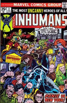 The Inhumans #3 Doug Moench Story / Rich Buckler Cover / Gil Kane Pencils. In an attempt to contact the Fantastic Four, the Royal Family journeys to New York City to try to determine what is causing deadly quakes in Attlan. In the interim, the Kree send their agent Shatterstar to capture the Inhumans who were the Kree's previous genetic experiment. The Inhumans are a fictional race of superhumans, created by Jack Kirby and Stan Lee.