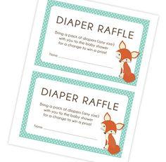 Instant Download Orange Fox Baby Shower Diaper Raffle by ByYolanda