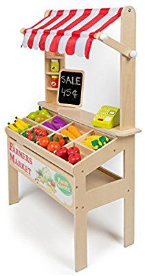 Wooden Farmers Market Stand - Kid's Playroom Furniture Grocery Stand for Pretend Play Pieces) - Includes Fruit, Chalkboard, Chalk, and Cash Register Kids Grocery Store, Kids Playroom Furniture, Kids Market, Wooden Play Kitchen, Pretend Play Kitchen, Market Stands, Play Shop, Design Living Room, Cubby Houses