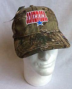 edd06606db5 Mens Realtree Camo Ball Cap Hat Strapback Adjustable New Tags America  Patriotic