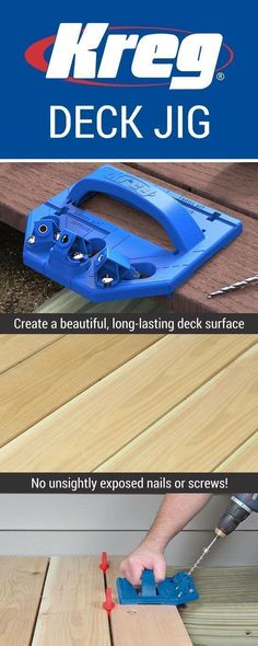 Whether you're building a new deck or refinishing an old one, you want to do the job right. With the Kreg Deck Jig, and a few simple tools you already own, you can create a beautiful and functional deck surface that is completely free of exposed fasteners and painful splinters. #deckdesigntool #deckbuildingtools