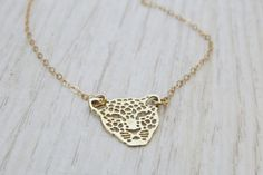 Gold necklace Goldfilled tiger necklace Modern by HLcollection, $27.00