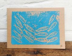 """Lino print on recycled card Shoal of Cornish Mackerel fish 7"""" x 5"""" greetings card by Spellboundbythesea on Etsy"""