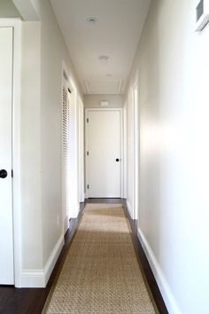 Long Hallway Decorating Ideas Fresh Help for A Long Boring Hallway and What Not to Do. Hallway Paint, White Hallway, Hallway Walls, Upstairs Hallway, Entry Hallway, White Walls, Decorating Long Hallway, Decorating Ideas, Long Hallway Runners