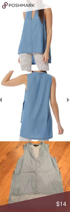 Peony & Me Chambray Sleeveless Top Great condition. Worn once. A tunic is a flawlessly versatile piece every fashionista needs in her closet -- and chambray is always a winner in our book! Relaxed fit. High-low tunic cut. Comfy sleeveless design. Peony and Me Tops