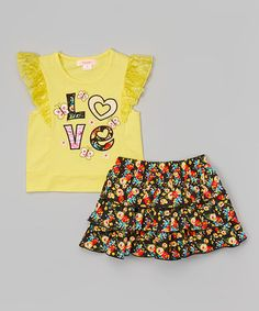 Another great find on #zulily! Yellow 'Love' Lace Top & Floral Skirt - Toddler & Girls #zulilyfinds