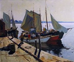 """""""Sunlight on the Dock, Rockport,"""" Anthony Thieme, oil on canvas, 30 x 36"""", Roughton Galleries."""