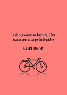 Affiche poster citation Albert Einstein corail - Typographie Citation Bicyclette - La vie c'est comme la bicyclette Typographie corail