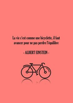 Affiche poster citation Albert Einstein corail - Typographie Citation Bicyclette…