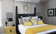 Resultado de imagem para quarto solteiro feminino simples cinza e amarelo