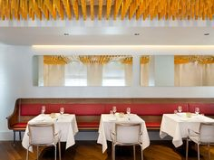 Ametsa with Arzak Instruction Acoustic Baffles, Oak Bench, Private Dining Room, Centre Pieces, Contemporary Design, Restaurant, Connect, Table, Interiors