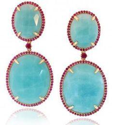 earrings rimmed in rubies
