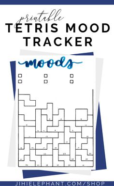 This blue Tetris mood tracker is a one-page tracker. Further, the Tetris pieces can be colored in, doodled in, or written in to depict each days mood. The mood key is located below the brush lettered header where there is space for six different moods. If you love Tetris and want to track your moods, this bullet journal layout is perfect for you! This printable is great for any person wishing to add some fun and games to their planner. Additionally, these designs are hand-lettered.