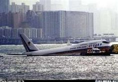 See what I mean about the runway at Kai Tak -- this CAL plane missed it