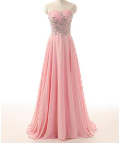 Pink Prom Dress, Beaded prom Dress, Chiffon Prom Dress, dresses for Prom, custom…