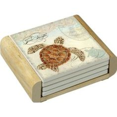 CounterArt Sea Turtle Design Absorbent Coasters in Wooden Holder, Set of Turtle Gifts For Her. Turtle Gifts For your girlfriend. Turtle Gifts, Gifts For Your Girlfriend, Stone Coasters, Coaster Furniture, Unique Furniture, Coastal Decor, Decorative Boxes, Diy, Design