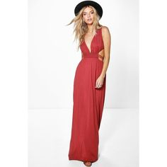 Boohoo Ava Rouched Waist Band Maxi Dress featuring polyvore, women's fashion, clothing, dresses, chestnut, maxi dress, white maxi dress, boohoo dresses, maxi party dresses and rayon maxi dress