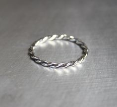 Silver+Twist+Ring+Braided+Ring+Thin+Ring+by+JenniferWood+on+Etsy,+$20.00