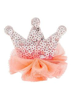 Girls tulle sequin crown on a duck clip. Item comes in a sweet clear box. Available in 2 colours