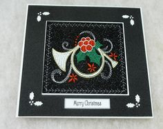 Christmas Card handmade 'Christmas Horn holly berries and