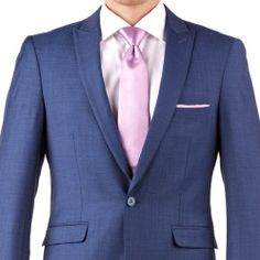 46c3d0ff495f Made with elegance, this blue peak lapel suit is made from Merino wool.  Rent a customizable men's blue wedding suit online with Generation Tux.