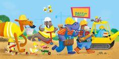 Dig Dig Digger! - Gareth Lucas #diggers #dig #tractors #drill #scoop #build #truck #construction #building #earth #childrensbook #illustration #kidlitart #kidlitartist #kidlit #booksforkids #kidsbooks #raiseareader #read #books #garethlucas