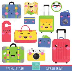 KAWAII TRAVEL Clipart set includes 12 cute graphics PERSONAL AND SMALL COMMERCIAL USE This clip art pack is perfect for scrapbooking, paper crafts, card design, stickers, party invitations ... and much more! DOWNLOAD INSTANT / NO SHIPPING You will receive: ★ 1 zip containing 12 Files (12 x12 approx | 300 dpi) in PNG format with transparent background The file can be downloaded immediately after your payment is confirmed. The links will be sent to the email associated with your Etsy...