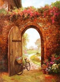 Guerreira da Luz & Metamorfose d'alma Bicycle Painting, Bicycle Art, Pictures To Paint, Art Pictures, Foto Transfer, Image 3d, Autumn Scenes, Old Doors, Painted Doors