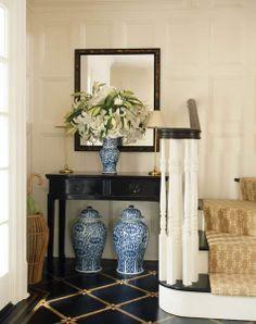 Paint for Vanity foyers, floor, ginger jars, white, gingers, stair runners, design, entryway, blues
