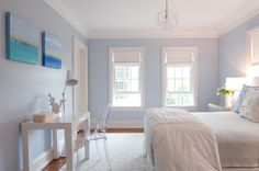 House of Turquoise: periwinkle bedroom Blue Teen Girl Bedroom, Blue Girls Rooms, Teen Girl Bedrooms, Girl Room, Teen Rooms, White Bedrooms, Periwinkle Bedroom, Blue Bedroom Walls, Blue Walls