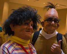 An absolutely terrifying Bert and Ernie cosplay. Nailed it!