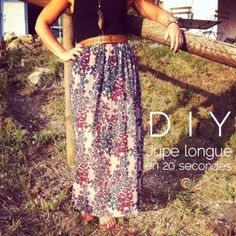 Une jupe longue en 20 secondes or how to sew a long skirt quickly and with three times nothing … Coin Couture, Couture Sewing, Mode Style, Fashion Sketches, Diy Clothes, Tie Dye Skirt, Womens Fashion, Fashion Trends, Fashion Photography
