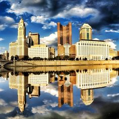 Skyline along the riverfront in downtown Columbus