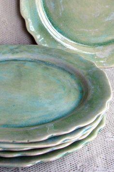 Handmade Stoneware Plates by Leslie Freeman Designs on Etsy