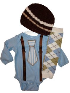 ADORABLE baby boy onesie set with newsboy hat and leg warmers. $32.95, via Etsy.
