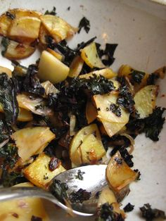 Host As Guests And Fried Potatoes With Kale Onion