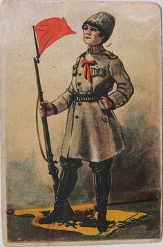 1917 Russia Revolution Woman Rifle Red Flag Ribbon Vintage Postcard RARE !!!
