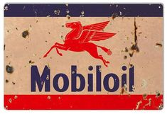 Mobiloil Pegasus Sign, Vintage Aged Style Large 16 x 24 inch Gauge Metal, USA Made Vintage Style Retro Garage Art by HomeDecorGarageArt on Etsy Old Garage, Garage Art, Garage Ideas, Car Part Furniture, Automotive Furniture, Automotive Decor, Furniture Design, Outhouse Bathroom Decor, Garage Signs