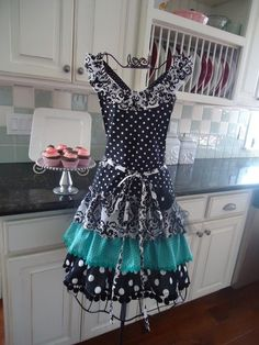 black and white apron, ruffled - Google Search