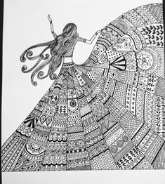 Doodle art painting by artist geeta kwatra - gallerist Doodle Art Drawing, Zentangle Drawings, Mandala Drawing, Art Drawings Sketches Simple, Girly Drawings, Doddle Art, Mandala Art Lesson, Doodle Art Designs, Black Art Painting