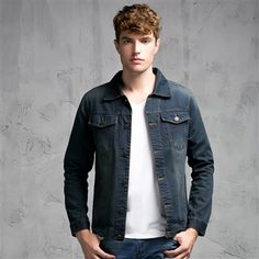 Men's Denim Jacket Autumn Long Sleeve Pockets Turn Down Collar Clothes