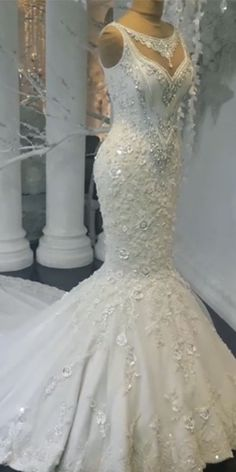 Gorgeous Embroidered Strapless Sweetheart Mermaid Wedding Dress / Bridal Gown with a Veil and a Train. Dress by Valdrin Sahiti Cheap Wedding Dresses Online, Blue Wedding Dresses, Wedding Dress Accessories, Lace Mermaid Wedding Dress, Mermaid Dresses, Bridal Lace, Bridal Gowns, Prom Dresses, Wedding Navy