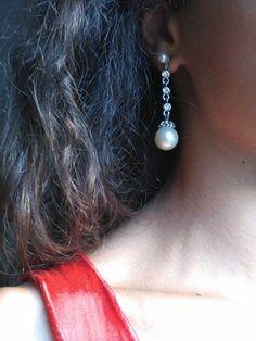 SOLO 12,50 euro, spedizione GRATIS con CORRIERE TRACCIABILE! Orecchini Pendenti Perle Zirconi Argento NUOVI Eleganti Silver Pearls Earrings.
